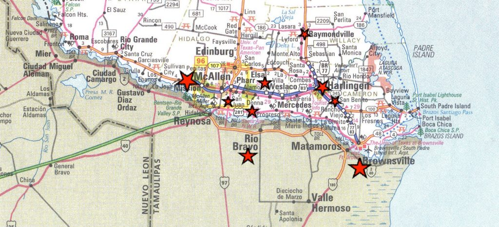 The Texas border towns along the Rio Grande Valley like that of Brownsville, San Benito, Harlingen, McAllen, and Victoria have served as navigational stopping points for many immigrants— points which have played an essential role in personal and social transformation. Photo Credit: © 1997-2019 CityOf.com—Map of The Rio Grande Valley Texas