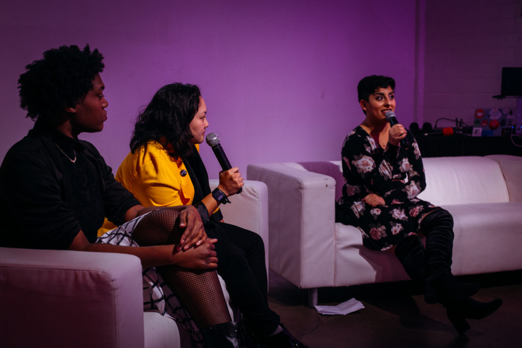 Veer Queer co-hosts Julien Gomez (right), Mai Ha (center), and Endesha Haynes (left) chat with audience members before welcoming special guest Jessica Zyrie to the stage at Spectrum South's Veer Queer Season 4 Live Kickoff event on Thursday, January 24, 2019.