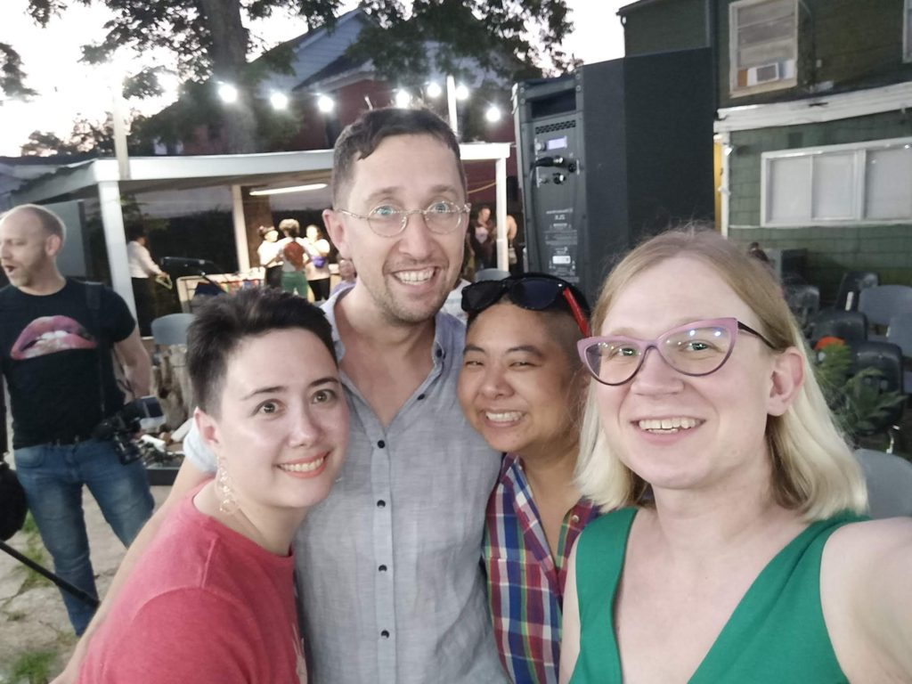 The four Failure to Con/Form curators Addie Tsasi, John Pluecker, Ching-In Chen and Cassie Mira (from left to right) at the FTC Shelter event, Casa Anandrea, August 2019. Photo credit: Cassie Mira